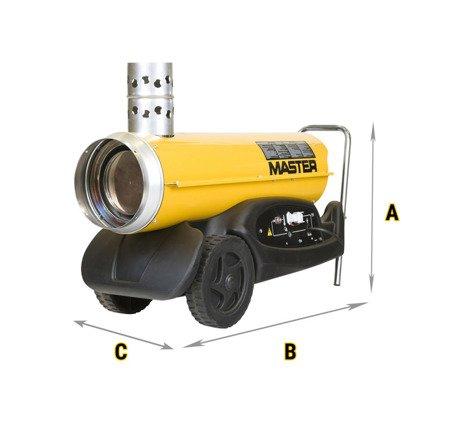 Nagrzewnica olejowa Master BV 77 E + termostat TH5 10-metrowy + przewody giętkie 7,6 m (nylon) + zestaw podłączeniowy